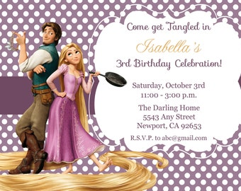 Tangled Invitation, Rapunzel Invitation, Disney Princess, Kid's Birthday Party Invite, Birthday Invitation