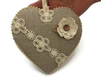 heart linen and lace with flower