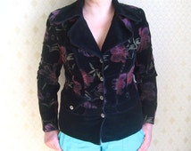 Vintage Ladies Business Suit Jacket Womens Tweed Suit Black Purple Flowery Design Cotton Corduroy Jacket Large Size European 40