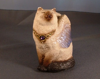 Windstone Editions Bird Winged Flap Cat (Siamese), Vintage Collectible Cat Figurine, Sculpture by M. Pena at JenKatsAlley