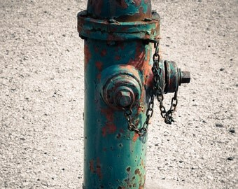 Teal Fire Hydrant Photo, Industrial Photography, Rustic Decor, 5x7, 8x10, 11x14