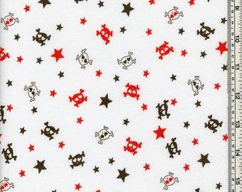 Skulls/Stars White Cotton Jersey Fabric by theYard