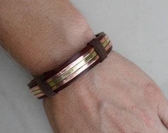 Men's Leather Bracelet, Men's Copper and Brass Bracelet, Men's Leather Bracelet, Men's Copper bracelet, Brass Bracelet, Leather Bracelet