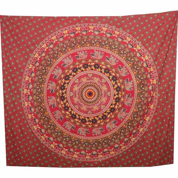 mandala fleurs mural qui l vent tissu ethnique de couvre lit. Black Bedroom Furniture Sets. Home Design Ideas