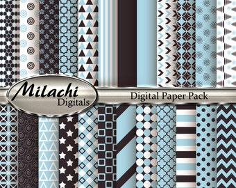 Light Blue and Charcoal Digital Paper Pack, Scrapbook Papers, Commercial Use - Instant Download - M88