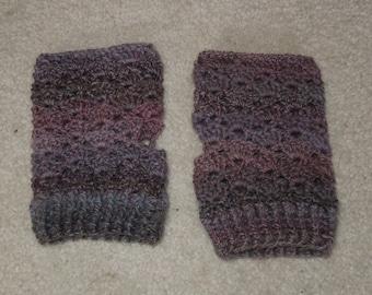 Handmade Crochet Wool Fingerless Gloves Pink Variegated color