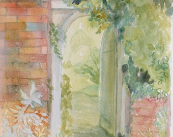 8x10 Original Watercolor of Walled Garden~ Open Door