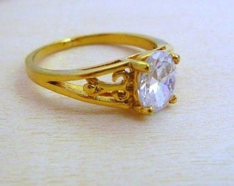 GOLD filled ring gemstone birthstone , white zircon cz ring gift for her gifts for women dainty ring minimalist jewelry