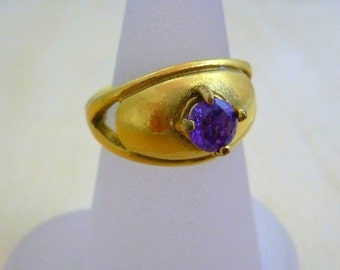 Amethyst ring GOLD Filled Ring swarovski crystal ring, gifts for women