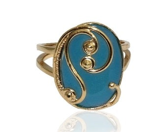 Blue Stone ring -gold filled ring gemstone Ring ,filigree gold ring best gifts for women