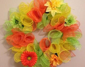 Bright color mesh wreath