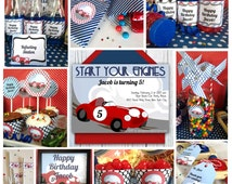 Race Car Birthday Party Printable Package & Invitation, INSTANT DOWNLOAD Race Car invitation, Retro Race Track Party, Kid Sports Car Party