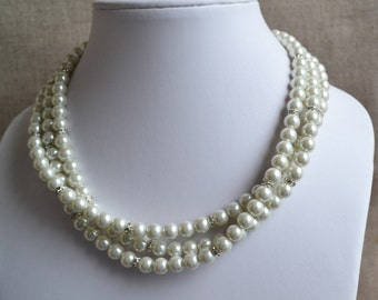 ivory pearl necklace,3-rows pearl necklaces,wedding necklace,bridesmaids necklace,glass pearls necklaces, pearl necklace,necklace,wedding
