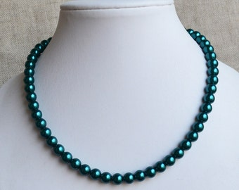 teal pearl necklace, 8mm teal color glass pearl necklaces,wedding necklace,bridesmaids necklace,statement necklace, women necklace