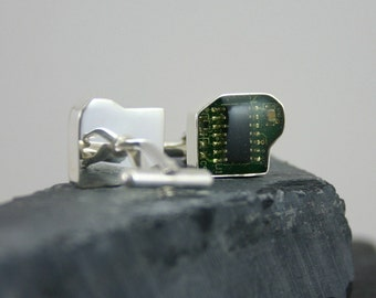 Silver Circuit Board Cufflinks – contemporary cuflinks, computer jewelry – hand made jewelry - .925 sterling silver and circuit board
