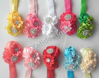 Wholesales Satin Ribbon Rose Flower Headband Baby Headbands. Rhinestone Newborns Headbands. Girl's Headband YTH23