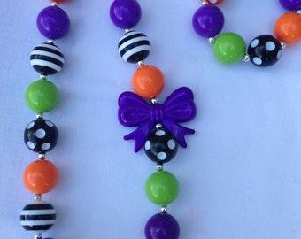Girls Chunky Necklace, Girls Bubblegum Chunky Necklace, Halloween Chunky Necklace