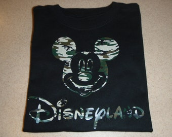 Customizable Mickey Mouse Camo Disneyland Birthday Shirt  Boys Large Sizes