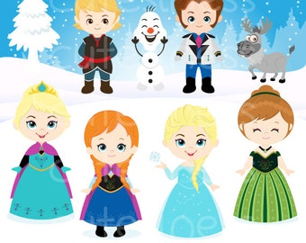 Snow princess clipart, Snow princess digital clipart, frozen clipart