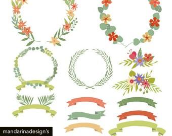 Floral frame Clipart, handrawn clipart Digital Clip Art Graphics for Scrapbooking DIY Printable Instant Download