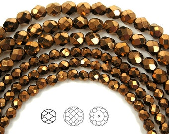 4mm (102pcs) Jet Gold Bronze fully coated, Czech Fire Polished Round Faceted Glass Beads, 16 inch strand