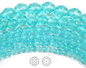 6mm (68pcs) Aqua, Czech Fire Polished Round Faceted Glass Beads, 16 inch strand