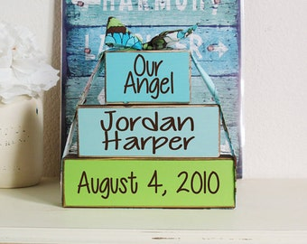 3- Block Stack- Our Angel Custom Baby Name & Birth Date- Hand Painted Wooden Blocks-Country Decor-Shabby-Baby Gift