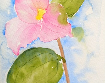 Pink Trillium Watercolor Notecard