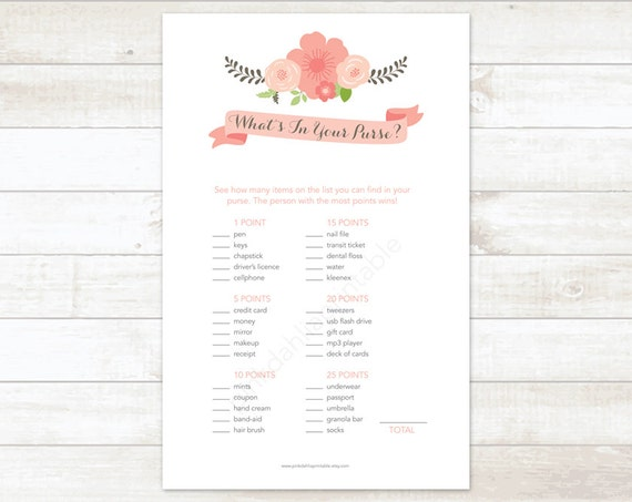 Exceptional image in what's in your purse bridal shower game free printable