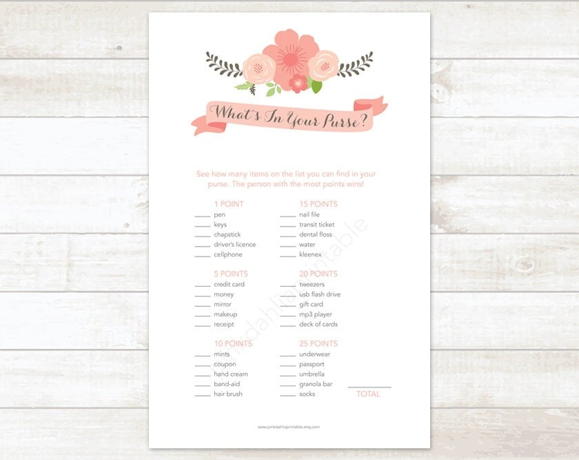 Bridal shower game what 39 s in your purse printable pink for Non traditional bridal shower games