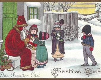 Vintage Christmas PostcardVintage Postcard, Santa Claus On Steps, Talking with Children, Christmas Download, Santa Image, INSTANT Download