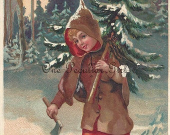 Vintage Christmas Postcard, Vintage Postcard, Girl in Woods, Caryying Ax, Christmas Tree, Christmas Download, Image, INSTANT Download