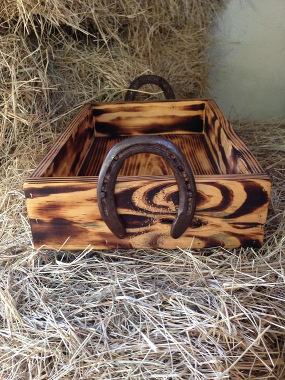 Wood box with horseshoe handles western decor cowboy decor for Horse shoe decorations