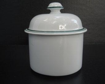 Dansk Bistro Sugar Bowl, White Sugar Bowl, Green Stripe, Made in Portugal