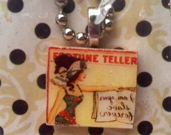 FREE SHIPPING! Scrabble Tile Necklace: Fortuneteller