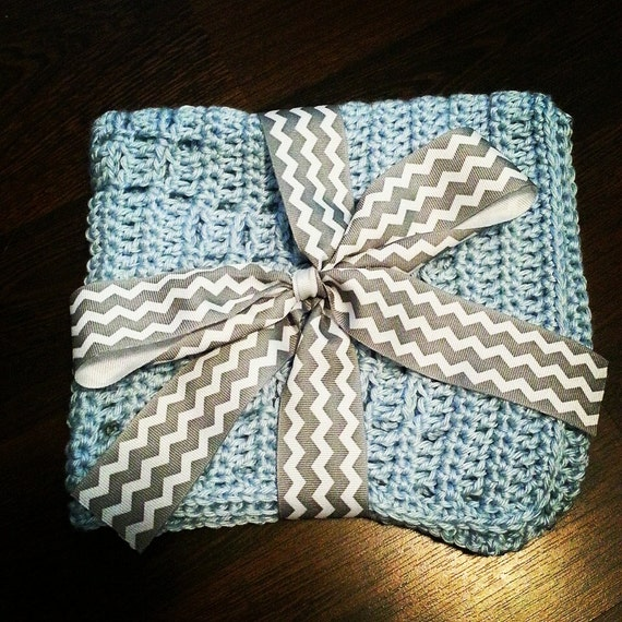 Free Easy Crochet Patterns For Baby Toys : Baby Blue Crochet Blocks Lovey Mini Blanket by ...