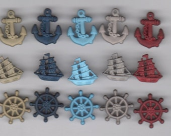 Novelty Buttons Ahoy Ships Wheels Anchors 11 pieces
