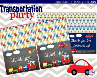 Transportation Chalkboard Party Thank You Cards, Instant download, colorful, Great to send post party, car, plane, truck, boat, helicopter