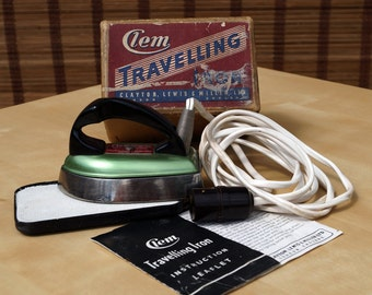 Clem Travelling Iron London England Clayton Lewis & Miller ltd    rare collectible    original box with the Instruction Leaflet