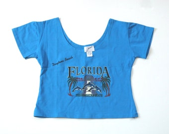 90s Crop Top Florida Dolphins Palm Trees Shirt Size Large Daytona Beach