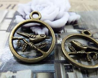 25pcs  Antique Bronze Lovely Bird Charms Pendant. c1512-8