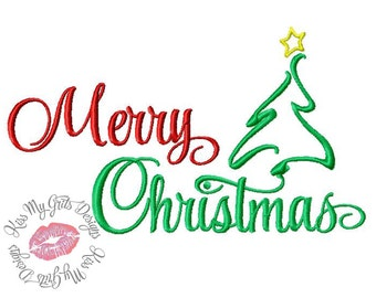 Merry Christmas with Tree Machine Embroidery Design