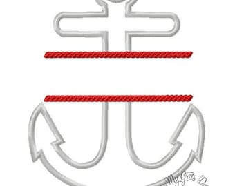 Split Anchor Machine Embroidery Applique Design