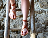 SALE 20% OFF, Orange Women Sandals, leather sandals, barefoot sandals, flat sandals, strap sandals, adjustable sandals, comfort sandals