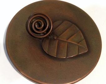 Rebajes Mid-Century Modern Copper Covered Dish Signed