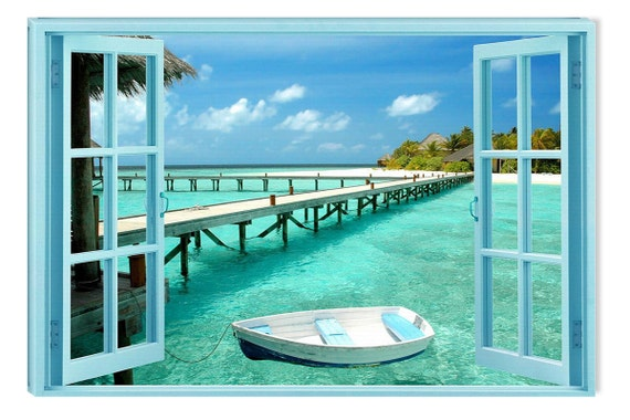 Window to Paradise Beach, Amazing Canvas Wall Art, 5 Stars Gift Startonight Home and Kitchen Decor
