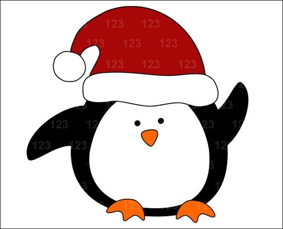 ... to Cute Penguin In A Santa Hat Single Digital Clip Art - 1 PNG on Etsy