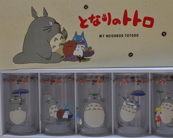 Vintage Tonari no Totoro Cup Set, My Neighbor Totoro drinking glasses, glass tumblers- New in Box!