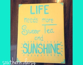 Sweet Tea & Sunshine Hand-Painted Canvas