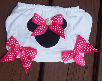 READY To SHiP Adorable Minnie Mouse Bloomers, photo prop,cake smash set, babygirls,1st Birthday, infant, toddler